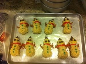 9 rice crispy snowmen